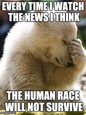 Facepalm Bear |  EVERY TIME I WATCH THE NEWS I THINK; THE HUMAN RACE WILL NOT SURVIVE | image tagged in memes,facepalm bear | made w/ Imgflip meme maker