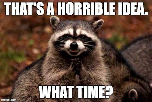 Evil Plotting Raccoon Meme | THAT'S A HORRIBLE IDEA. WHAT TIME? | image tagged in memes,evil plotting raccoon | made w/ Imgflip meme maker