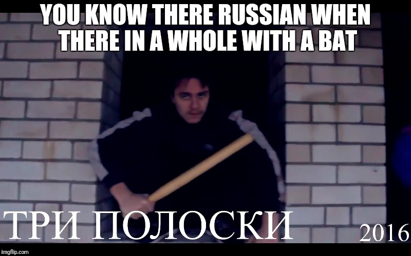Russian | YOU KNOW THERE RUSSIAN WHEN THERE IN A WHOLE WITH A BAT | image tagged in russians,memes | made w/ Imgflip meme maker