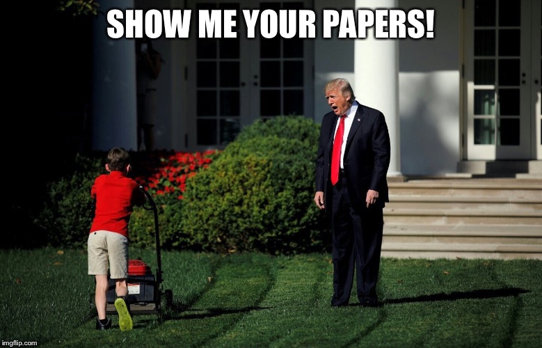 Start 'em while they're young | SHOW ME YOUR PAPERS! | image tagged in trump and lawnmower,donald trump,trump | made w/ Imgflip meme maker
