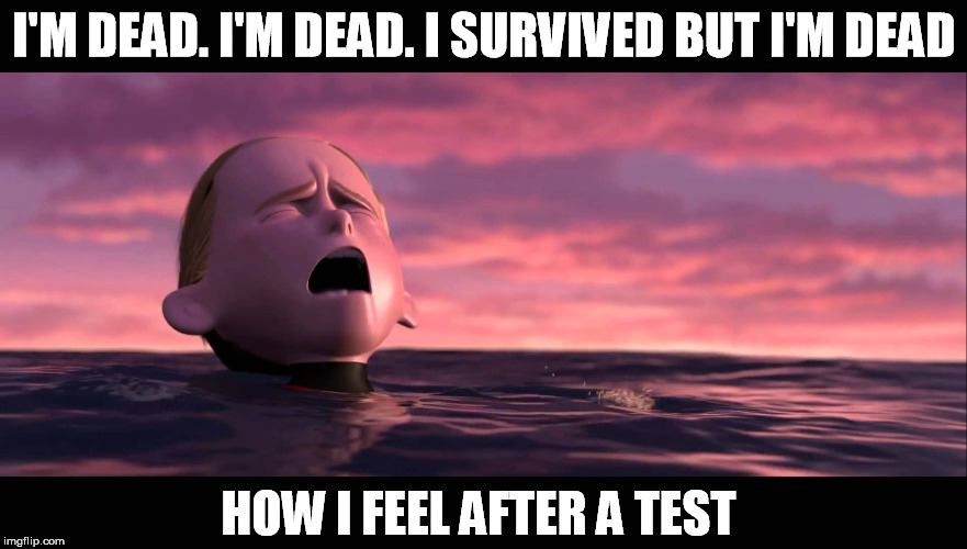 School in a nutshell | I'M DEAD. I'M DEAD. I SURVIVED BUT I'M DEAD HOW I FEEL AFTER A TEST | image tagged in dead,test,school,incredibles,dash,death | made w/ Imgflip meme maker