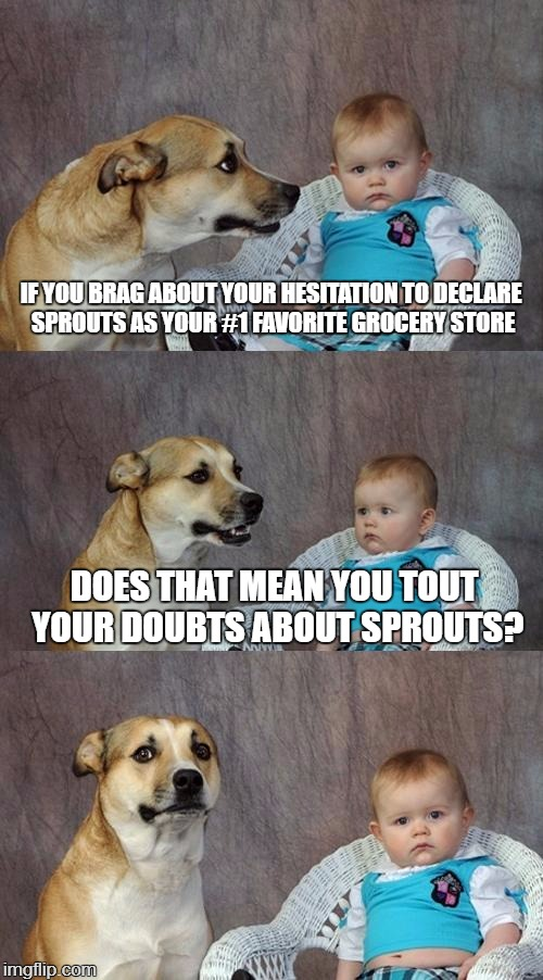 I Prefer Whole Foods | IF YOU BRAG ABOUT YOUR HESITATION TO DECLARE SPROUTS AS YOUR #1 FAVORITE GROCERY STORE DOES THAT MEAN YOU TOUT YOUR DOUBTS ABOUT SPROUTS? | image tagged in memes,dad joke dog,sprouts,rhymes | made w/ Imgflip meme maker