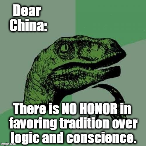 Philosoraptor Meme | Dear China: There is NO HONOR in favoring tradition over logic and conscience. | image tagged in memes,philosoraptor,communism,china,north korea,free speech | made w/ Imgflip meme maker