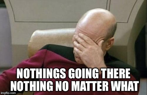Captain Picard Facepalm Meme | NOTHINGS GOING THERE NOTHING NO MATTER WHAT | image tagged in memes,captain picard facepalm | made w/ Imgflip meme maker
