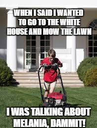 Kid mows lawn | WHEN I SAID I WANTED TO GO TO THE WHITE HOUSE AND MOW THE LAWN I WAS TALKING ABOUT MELANIA, DAMMIT! | image tagged in donald trump,donald trump approves,melania trump,white house,lawnmower | made w/ Imgflip meme maker