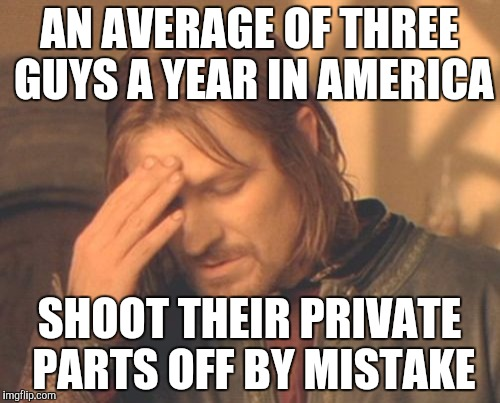 Frustrated Boromir Meme | AN AVERAGE OF THREE GUYS A YEAR IN AMERICA SHOOT THEIR PRIVATE PARTS OFF BY MISTAKE | image tagged in memes,frustrated boromir | made w/ Imgflip meme maker
