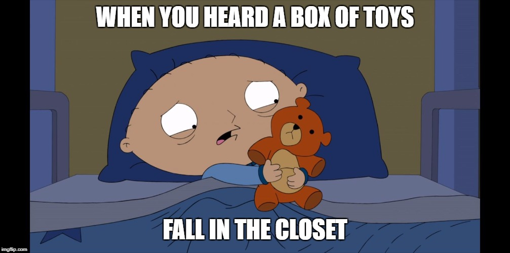 WHEN YOU HEARD A BOX OF TOYS FALL IN THE CLOSET | image tagged in scared stew | made w/ Imgflip meme maker