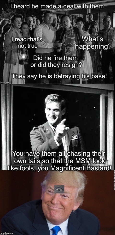 Submitted For Your Approval | You have them all chasing their own tails so that the MSM look like fools, you Magnificent Bastard! | image tagged in twilight zone trump | made w/ Imgflip meme maker