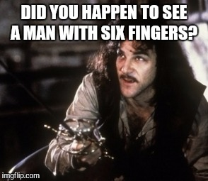 DID YOU HAPPEN TO SEE A MAN WITH SIX FINGERS? | made w/ Imgflip meme maker
