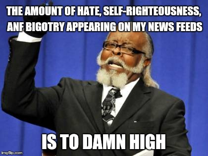 Too Damn High Meme | THE AMOUNT OF HATE, SELF-RIGHTEOUSNESS, ANF BIGOTRY APPEARING ON MY NEWS FEEDS IS TO DAMN HIGH | image tagged in memes,too damn high | made w/ Imgflip meme maker