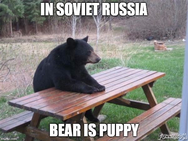 IN SOVIET RUSSIA BEAR IS PUPPY | image tagged in bear waiting | made w/ Imgflip meme maker