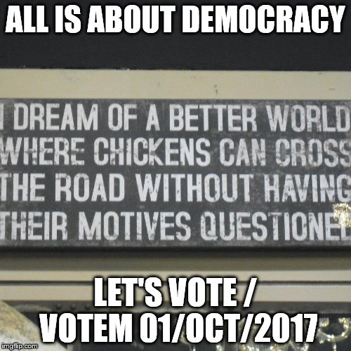 ALL IS ABOUT DEMOCRACY LET'S VOTE / VOTEM 01/OCT/2017 | image tagged in chicken | made w/ Imgflip meme maker