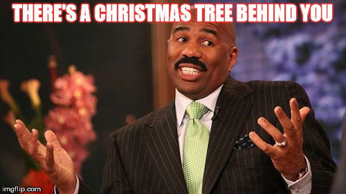 Steve Harvey Meme | THERE'S A CHRISTMAS TREE BEHIND YOU | image tagged in memes,steve harvey | made w/ Imgflip meme maker