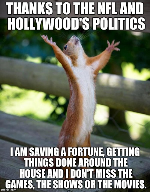 Squirrel giving thanks | THANKS TO THE NFL AND HOLLYWOOD'S POLITICS I AM SAVING A FORTUNE, GETTING THINGS DONE AROUND THE HOUSE AND I DON'T MISS THE GAMES, THE SHOWS | image tagged in squirrel giving thanks | made w/ Imgflip meme maker