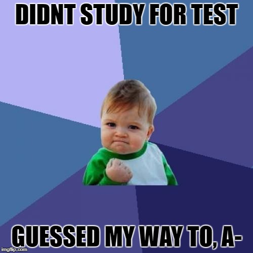 Success Kid Meme | DIDNT STUDY FOR TEST GUESSED MY WAY TO, A- | image tagged in memes,success kid | made w/ Imgflip meme maker