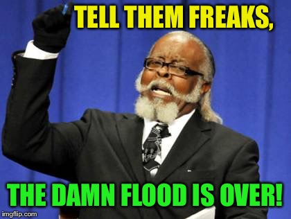 Too Damn High Meme | TELL THEM FREAKS, THE DAMN FLOOD IS OVER! | image tagged in memes,too damn high | made w/ Imgflip meme maker