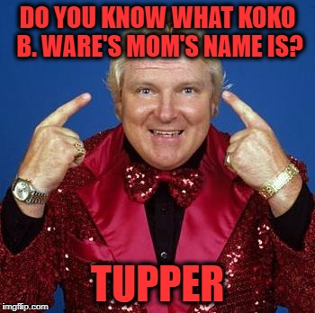 bobby heenan | DO YOU KNOW WHAT KOKO B. WARE'S MOM'S NAME IS? TUPPER | image tagged in bobby heenan | made w/ Imgflip meme maker
