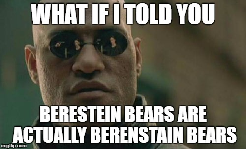 Matrix Morpheus Meme | WHAT IF I TOLD YOU BERESTEIN BEARS ARE ACTUALLY BERENSTAIN BEARS | image tagged in memes,matrix morpheus | made w/ Imgflip meme maker
