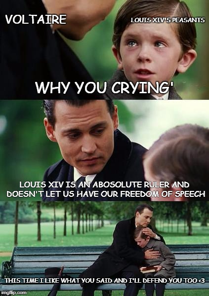Voltaire on louis XIV | WHY YOU CRYING' LOUIS XIV IS AN ABOSOLUTE RULER AND DOESN'T LET US HAVE OUR FREEDOM OF SPEECH THIS TIME I LIKE WHAT YOU SAID AND I'LL DEFEND | image tagged in memes,absolutism | made w/ Imgflip meme maker