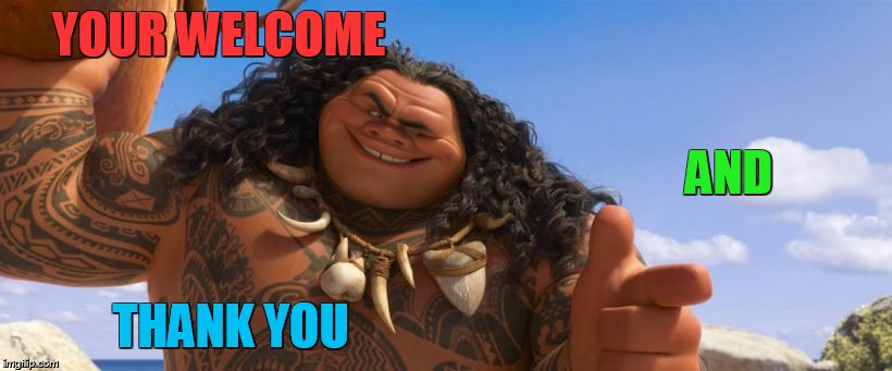 YOUR WELCOME THANK YOU AND | image tagged in moana | made w/ Imgflip meme maker