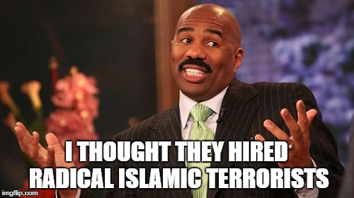 Steve Harvey Meme | I THOUGHT THEY HIRED RADICAL ISLAMIC TERRORISTS | image tagged in memes,steve harvey | made w/ Imgflip meme maker