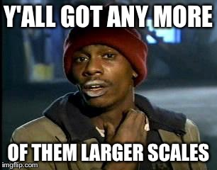 Y'all Got Any More Of That Meme | Y'ALL GOT ANY MORE OF THEM LARGER SCALES | image tagged in memes,yall got any more of | made w/ Imgflip meme maker