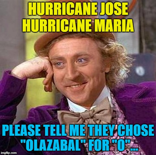 "Jose Maria Olazabal was a Spanish golfer :) | HURRICANE JOSE PLEASE TELL ME THEY CHOSE ""OLAZABAL"" FOR ""O""... HURRICANE MARIA 