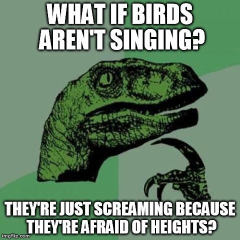 Philosoraptor | WHAT IF BIRDS AREN'T SINGING? THEY'RE JUST SCREAMING BECAUSE THEY'RE AFRAID OF HEIGHTS? | image tagged in memes,philosoraptor | made w/ Imgflip meme maker