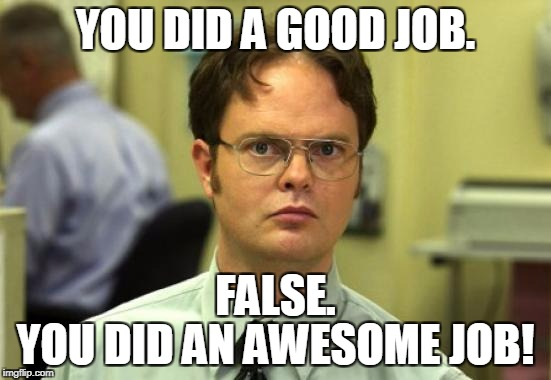 Dwight Schrute |  YOU DID A GOOD JOB. FALSE. YOU DID AN AWESOME JOB! | image tagged in memes,dwight schrute,good job,awesome,false,the office | made w/ Imgflip meme maker