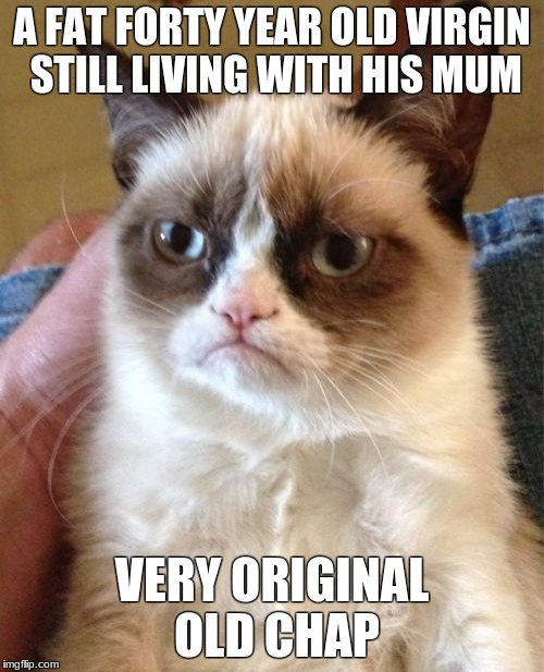 Grumpy Cat Meme | A FAT FORTY YEAR OLD VIRGIN STILL LIVING WITH HIS MUM VERY ORIGINAL OLD CHAP | image tagged in memes,grumpy cat | made w/ Imgflip meme maker