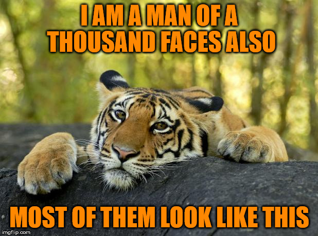 I AM A MAN OF A THOUSAND FACES ALSO MOST OF THEM LOOK LIKE THIS | made w/ Imgflip meme maker