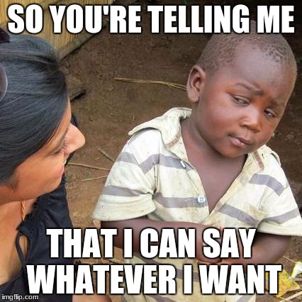 Third World Skeptical Kid Meme | SO YOU'RE TELLING ME THAT I CAN SAY WHATEVER I WANT | image tagged in memes,third world skeptical kid | made w/ Imgflip meme maker