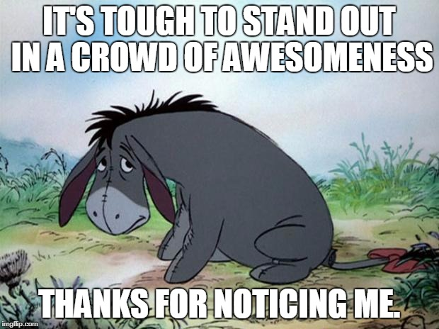 eeyore | IT'S TOUGH TO STAND OUT IN A CROWD OF AWESOMENESS THANKS FOR NOTICING ME. | image tagged in eeyore | made w/ Imgflip meme maker