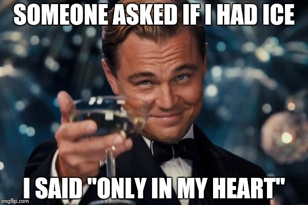"Leonardo Dicaprio Cheers Meme | SOMEONE ASKED IF I HAD ICE I SAID ""ONLY IN MY HEART"" 