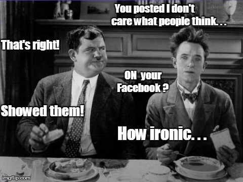 You posted I don't               care what people think. . . Showed them! That's right!                ON  your Facebook ? How ironic. . . | image tagged in funny,irony,facebook | made w/ Imgflip meme maker