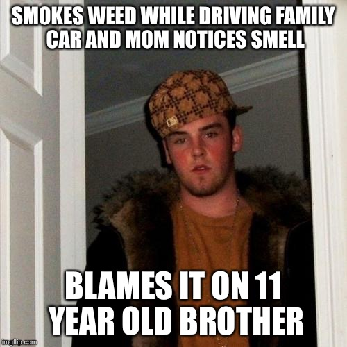 Scumbag Steve Meme | SMOKES WEED WHILE DRIVING FAMILY CAR AND MOM NOTICES SMELL BLAMES IT ON 11 YEAR OLD BROTHER | image tagged in memes,scumbag steve | made w/ Imgflip meme maker