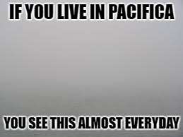 fog | IF YOU LIVE IN PACIFICA YOU SEE THIS ALMOST EVERYDAY | image tagged in fog | made w/ Imgflip meme maker