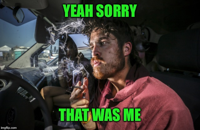 Stoner driving | YEAH SORRY THAT WAS ME | image tagged in stoner driving | made w/ Imgflip meme maker