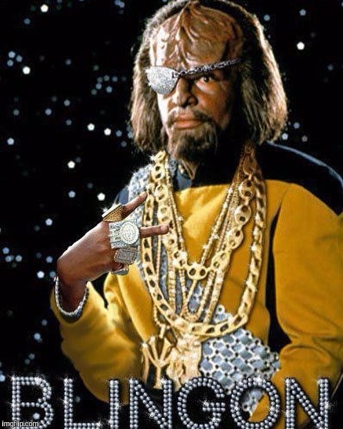 There is no honor in being blingless | . | image tagged in klingon,star trek,jbmemegeek,star trek the next generation,bad pun star trek,sci fi | made w/ Imgflip meme maker