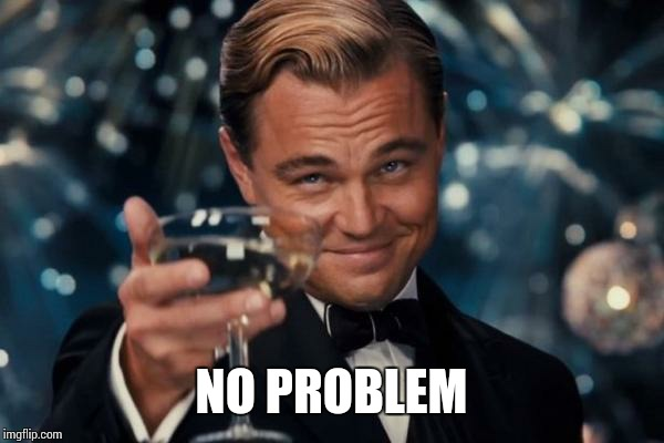 Leonardo Dicaprio Cheers Meme | NO PROBLEM | image tagged in memes,leonardo dicaprio cheers | made w/ Imgflip meme maker