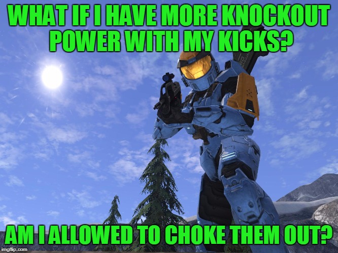 Demonic Penguin Halo 3 | WHAT IF I HAVE MORE KNOCKOUT POWER WITH MY KICKS? AM I ALLOWED TO CHOKE THEM OUT? | image tagged in demonic penguin halo 3 | made w/ Imgflip meme maker