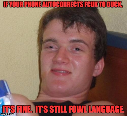 10 Guy Meme | IF YOUR PHONE AUTOCORRECTS FCUK TO DUCK, IT'S FINE.  IT'S STILL FOWL LANGUAGE. | image tagged in memes,10 guy | made w/ Imgflip meme maker