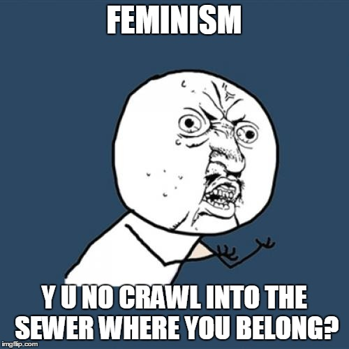 Y U No Meme | FEMINISM Y U NO CRAWL INTO THE SEWER WHERE YOU BELONG? | image tagged in memes,y u no | made w/ Imgflip meme maker