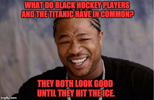 Yo Dawg Heard You Meme | WHAT DO BLACK HOCKEY PLAYERS AND THE TITANIC HAVE IN COMMON? THEY BOTH LOOK GOOD UNTIL THEY HIT THE ICE. | image tagged in memes,yo dawg heard you | made w/ Imgflip meme maker