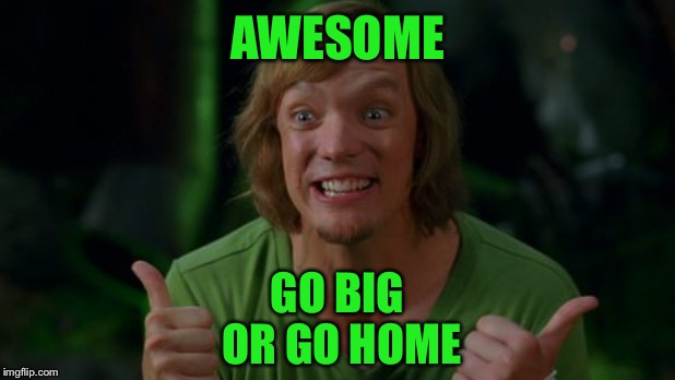 Shaggy 3 | AWESOME GO BIG OR GO HOME | image tagged in shaggy 3 | made w/ Imgflip meme maker