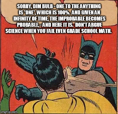 Batman Slapping Robin Meme | SORRY, DIM BULB - ONE TO THE ANYTHING IS *ONE*, WHICH IS 100%.  AND GIVEN AN INFINITY OF TIME, THE IMPROBABLE BECOMES PROBABLE, - AND HERE I | image tagged in memes,batman slapping robin | made w/ Imgflip meme maker