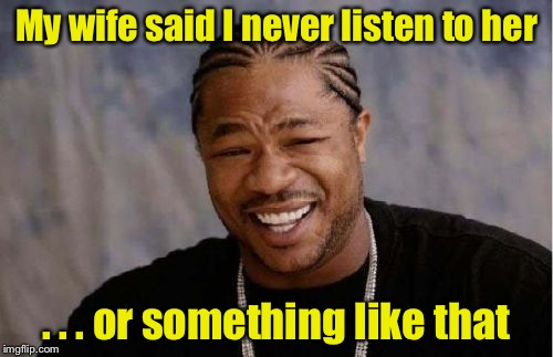 Mm hum  | My wife said I never listen to her . . . or something like that | image tagged in memes,yo dawg heard you | made w/ Imgflip meme maker