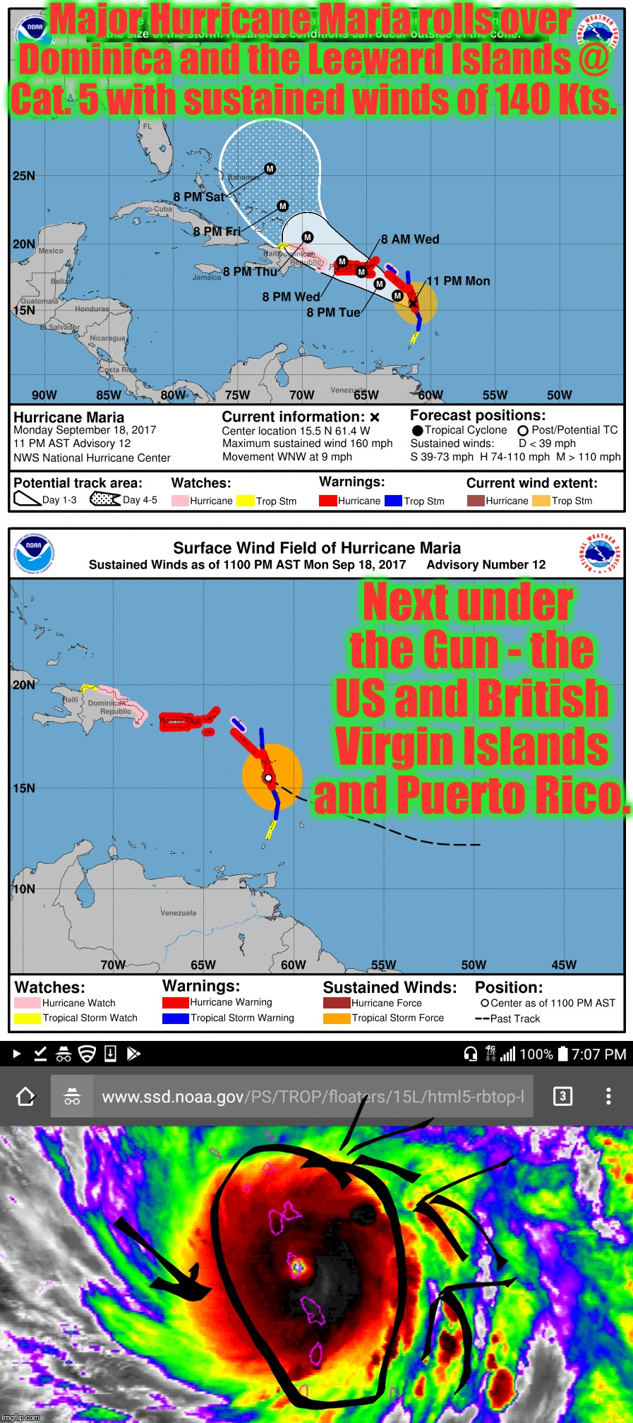 Major Hurricane Maria rolls over Dominica and the Leeward Islands @ Cat. 5 with sustained winds of 140 Kts. Next under the Gun - the US and  | made w/ Imgflip meme maker