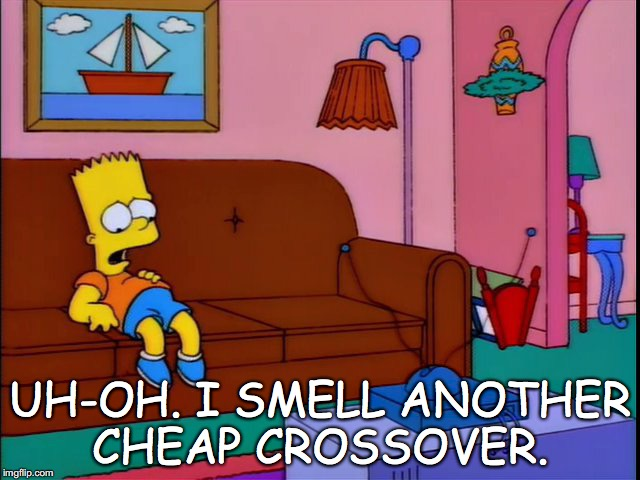 UH-OH. I SMELL ANOTHER CHEAP CROSSOVER. | image tagged in bart on couch | made w/ Imgflip meme maker