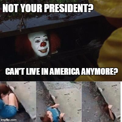 I Got Your Safe Space Right Here. | NOT YOUR PRESIDENT? CAN'T LIVE IN AMERICA ANYMORE? | image tagged in pennywise in sewer,safe space | made w/ Imgflip meme maker